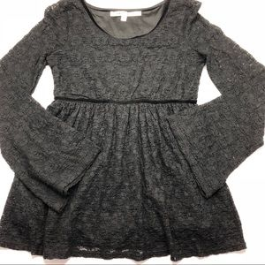 Max Studio Black Lace Bell Sleeve Top size Small